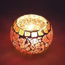 India Meets India Ethnic Handmade Tea Light Holder Decorative Glass Lamp with Luxury Feel | 3.5 Inch | Home Decor