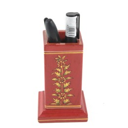 Exclusive Wooden Red Pen Stand With Metal Inlay For Gifting by Rural Artisans