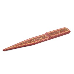 Exclusive Brick Red Wooden Paper Cutter With ancient mughal art painting by Rural Artisans