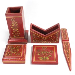 Exclusive Brick Red Wooden Executive Stationery Set with Ancient Mughal Art Painting For Gifting by Rural Artisans