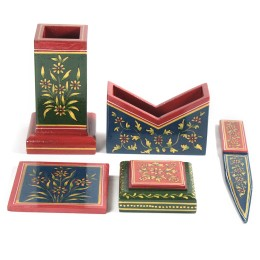 Exclusive Wooden Executive Stationery Set with Ancient Mughal Art Painting For Gifting by Rural Artisans