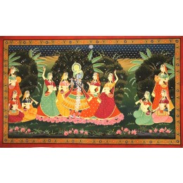 Handmade Lord Krishna Playing Flute Mughal Art By Awarded Rajasthani Artist