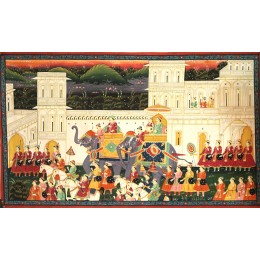 Handmade King's Procession Mughal Art By Awarded Rajasthani Artist