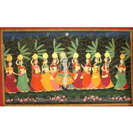 Handmade Lord Krishna And Radha Mughal Art By Awarded Rajasthani Artist