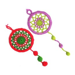 Cute Multicolor Crochet Dream Catcher Hangings (Set of 2) by Women Self Help Groups