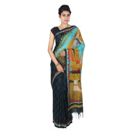 Handmade Black Matka Silk Saree by Weavers of Bihar