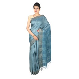 Handmade Blue Tussar Silk Saree by Weavers of Bihar