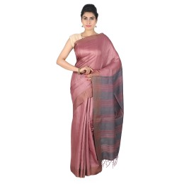 Handmade Brown Tussar Silk Saree by Weavers of Bihar