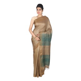 Handmade Brown Green Tussar Silk Saree by Weavers of Bihar