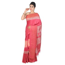 Handmade Red Munga Tussar Silk Saree by Weavers of Bihar