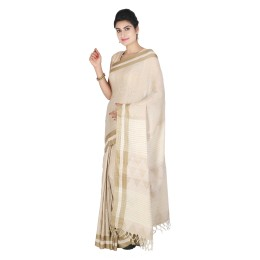 Handmade Cream Matka Tussar Silk Saree by Weavers of Bihar