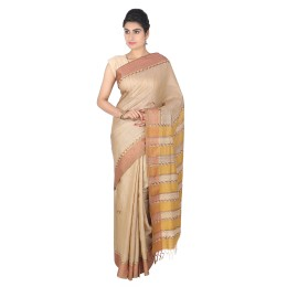 Handmade Light Brown Tussar Silk Embroidered Saree by Weavers of Bihar