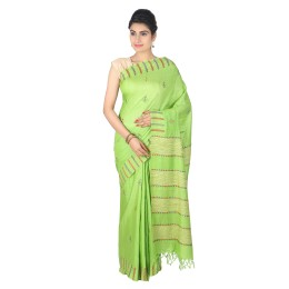 Handmade Green Tussar Munga Silk Kantha Work Saree by Weavers of Bihar