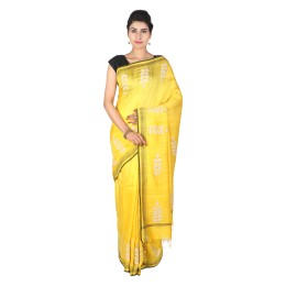 Handmade Yellow Matka Silk Patch Work Saree by Weavers of Bihar
