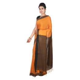 Handmade Orange Authentic Tussar Silk Saree by Weavers of Bihar