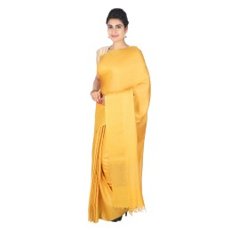 Handmade Yellow Munga Tussar Silk Saree by Weavers of Bihar