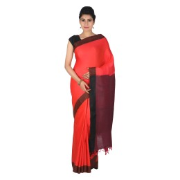 Handmade Red Eri Tussar Silk Basket Weave Saree by Weavers of Bihar