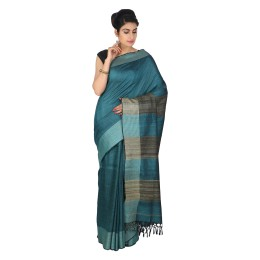 Handmade Dark Green Eri Tussar Silk Saree by Weavers of Bihar