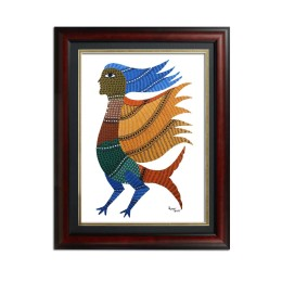 Multicolored Mythological Character Gond Painting by Rural Artists from Madhya Pradesh