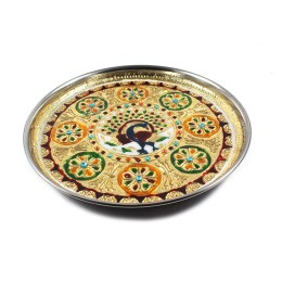 Original Meenakari Stainless Steel Decorative Plate by Rajasthani Artisans
