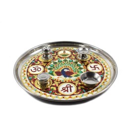 Authentic Meenakari Stainless Steel Puja Thali by Rajasthani Artisans