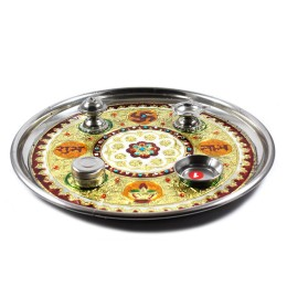 Authentic Meenakari Stainless Steel Puja Deepak by Rajasthani Artisans