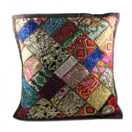 Unique Multicolor Patchwork Large Cushion Cover by Artisans of Gujarat