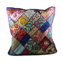 Exclusive Multicolor Patchwork Large Cushion Cover by Artisans of Gujarat