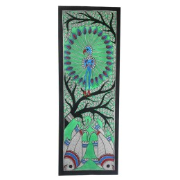 Exclusive Dancing Peacock Madhubani Wall Hanging by Artist from Bihar