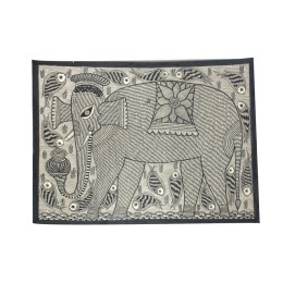 Multicolor Tamed Elephant Madhubani Wall Hanging by Artist from Bihar
