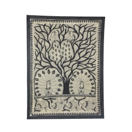 Exclusive Peacocks Dancing Madhubani Wall Hanging by Artist from Bihar