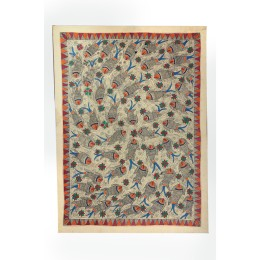 Multicolor Fish Pond Madhubani Wall Hanging by Artist from Bihar