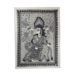 Goddess Durga on Tiger Dancing Madhubani Wall Hanging by Artist from Bihar