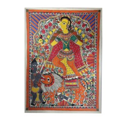 Authentic Angry Durga Madhubani Wall Hanging by Artist from Bihar
