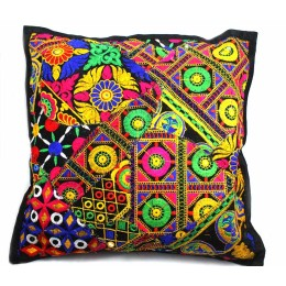 Attractive Multicolor Large Ethnic Cushion Cover by Artisans of Gujarat