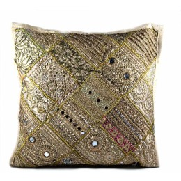 Designer Golden Large Ethnic Cushion Cover by Artisans of Gujarat
