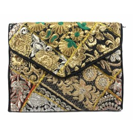 Black Golden Kutch Embroidery Sling Bag by Artisans of Gujarat