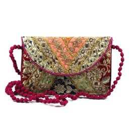 Ethnic Multicolor Zari Work Sling Bag by Artisans of Gujarat