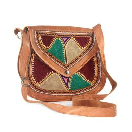 Stylish Designer Leather Embroidered Sling Bag by Artisans from Rajasthan