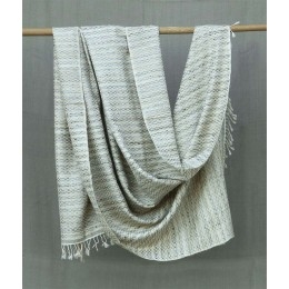 Exclusive Offwhite Tussar Silk Merino Wool Shawl by Artisans from Uttrakhand