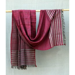 Classy Purple Eri Silk Merino Wool Shawl by Artisans from Uttrakhand