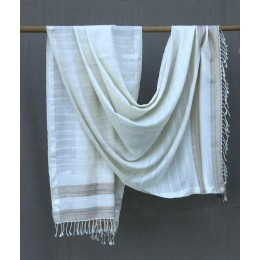 Exclusive Ivory Pure Merino Wool Shawl by Artisans from Uttrakhand