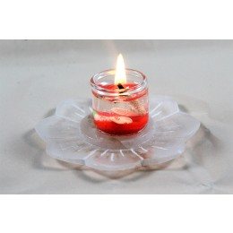 Beautiful White Stone Carved Lotus Tea Light Holder by Artisans from Agra