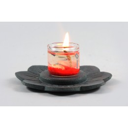 Beautiful Grey Stone Carved Lotus Tea Light Holder by Artisans from Agra