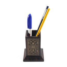 Exclusive Wooden Pen Stand With Metal Inlay For Gifting by Rural Artisans