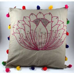 Designer Hand Embroidered Cotton Large Cushion Cover by Women SHGs