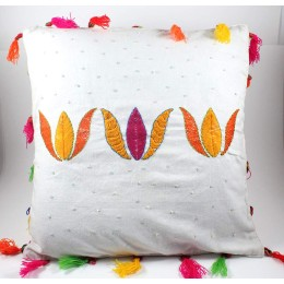 Designer Yellow & Red Flower Embroidered Cushion Cover by Women SHGs