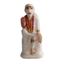 "India Meets India Handicraft Marble Lord Sai Baba Statue, Sai Baba Showpiece, 4""X6"" Inch, Best Gifting Made By Awarded Indian Artisan"