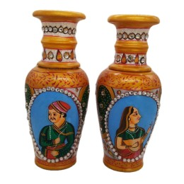 India Meets India Handicraft Flower Vase set of 2 with Antique Mughal Design Decorative Home, Offices, Best Gifting, Made By Awarded Indian Artisan