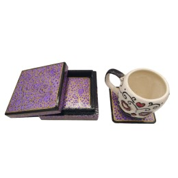 Handmade Papier Mache Coasters with Stand for Drinks/Drink Coasters for bar Set of 6, Best for Gifting (Purple)